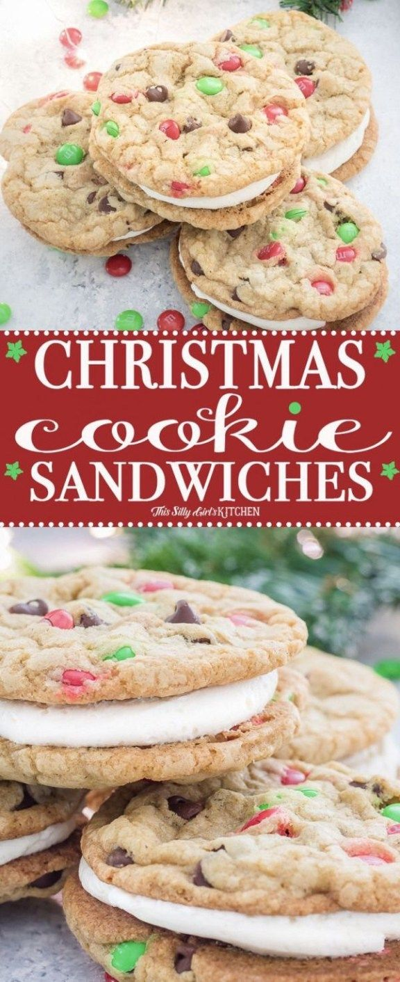 Chocolate Chip Cookie Sandwiches Recipe Festive Christmas Dessert Christmas Baking Sandwich Cookies