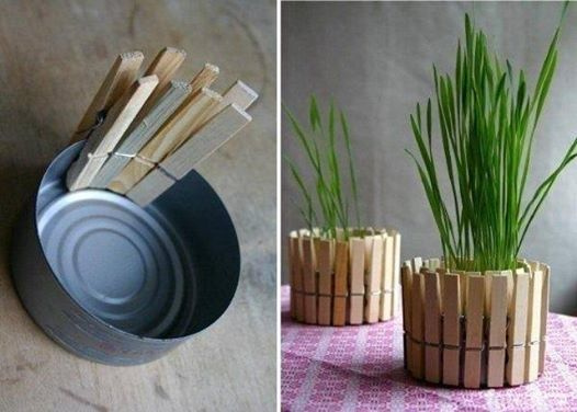 An idea for today: a flower pot made of can and clips