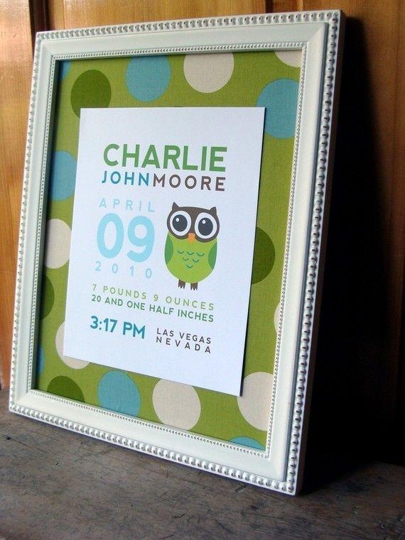 Baby Print: Frames Baby, Births Announcements, Announcements Prints, Creative Ideas, Prints Ideas, Frames Births, Baby Owl Printable, Baby Prints, Births Prints Sooo