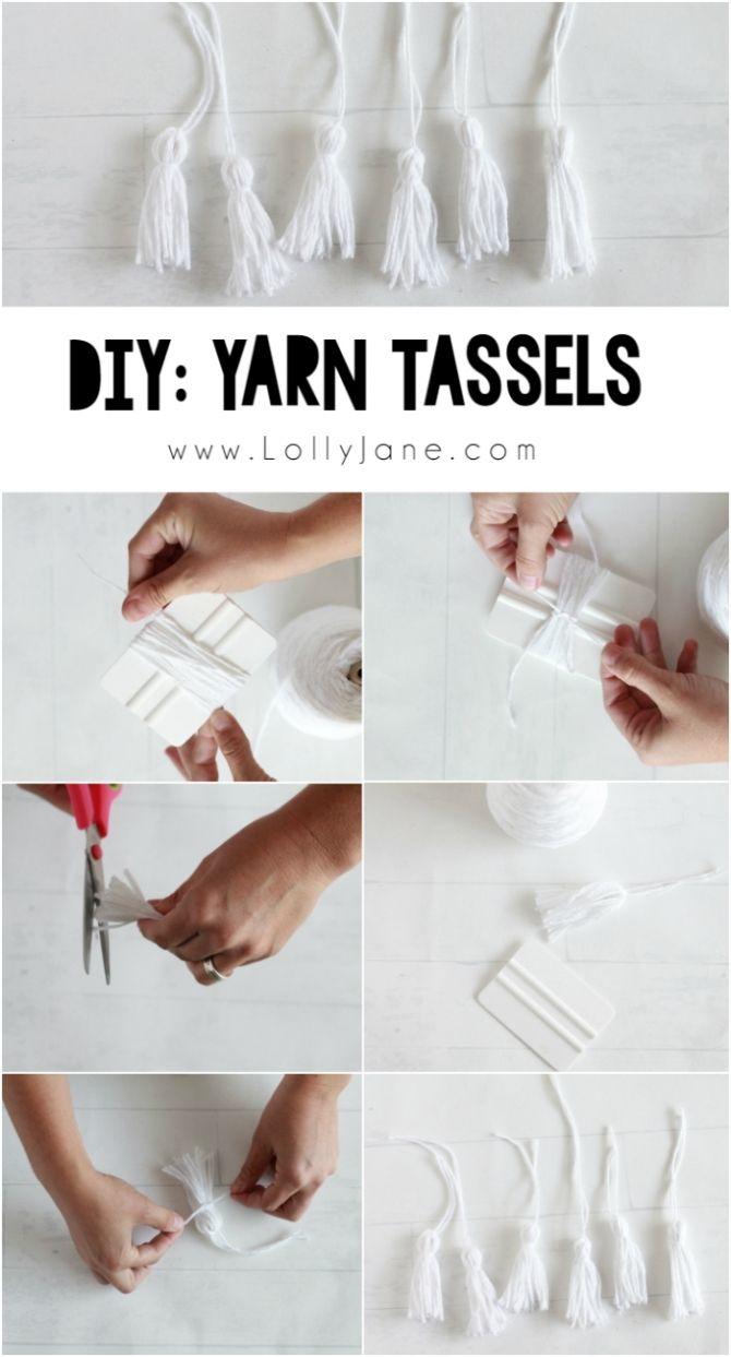 How to make tassels! Click to make fun DIY Kool Aid Dip Dye Tassel Wall Hanging, cute backdrop idea, adorable home decor or fun craft idea!