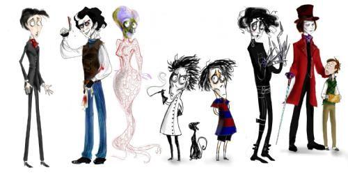 personajes de Tim Burton, parte 1 - el cadaver de la novia, sweeney todd, marte ataca, vincent,   el joven manos de tijera y charlie y la fabrica   de chocolate...