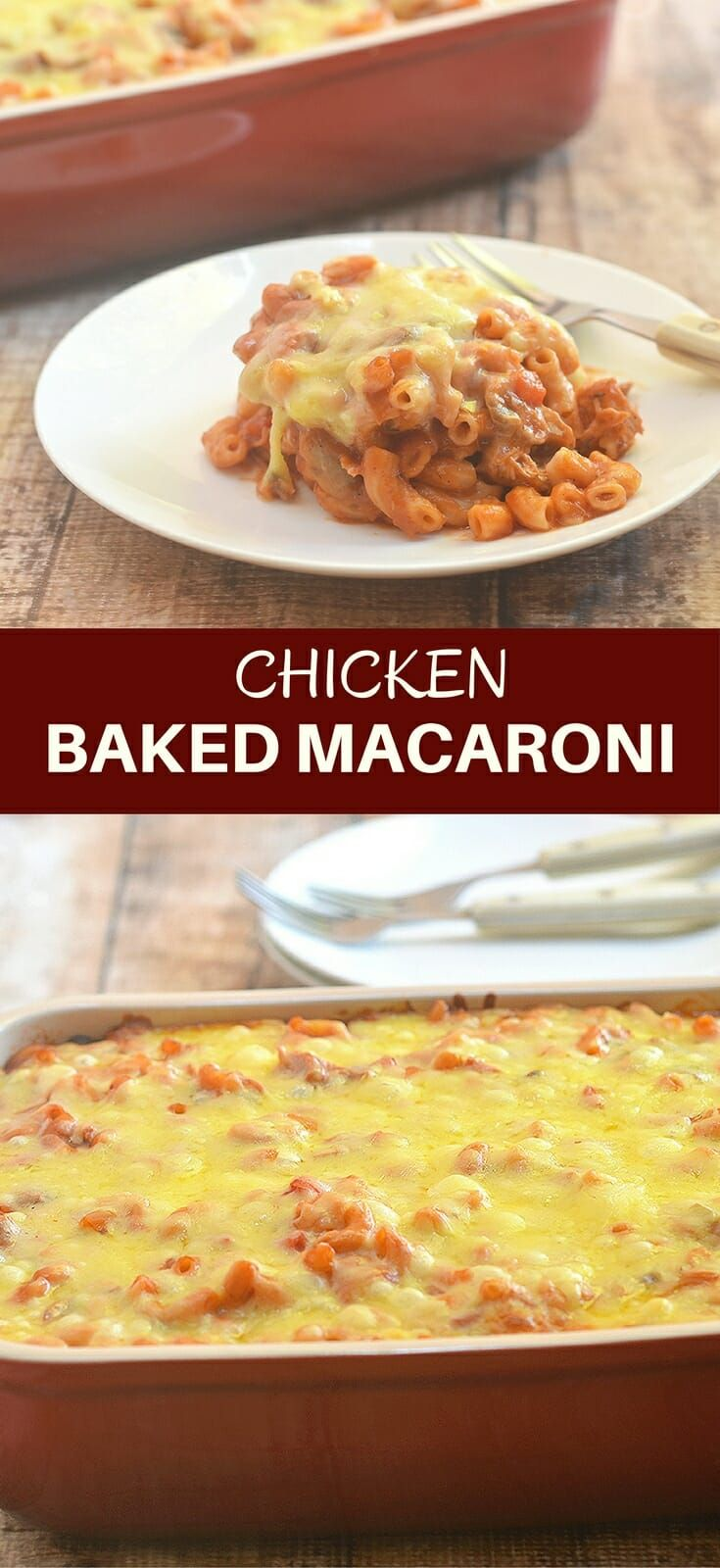 Filipino-style Chicken Baked Macaroni with elbow macaroni, shredded chicken in tomato sauce and cheese topping. Perfect for family dinners or holiday parties!
