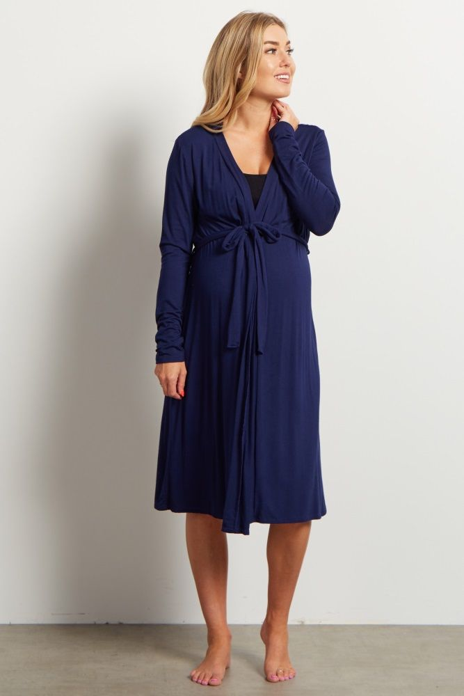 Navy Bamboo Dressing Robe- Pink Blush Maternity- Perfect for the hospital...