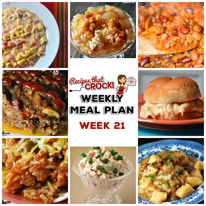 This week's weekly menu features Crock Pot Fiesta Shredded Pork Wraps, Crock Pot Fiesta Mac and Cheese, Crock Pot Old Fashioned Meatloaf, Crock Pot German Potato Salad, Crock Pot Hot Turkey Sandwiches, Caprese Pesto Pasta Salad, Crock Pot Buffalo Chicken Wings, French fries, Easy Crock Pot Cowboy Beans, Crock Pot Salted Caramel Apple Dip, Crock...Read More »