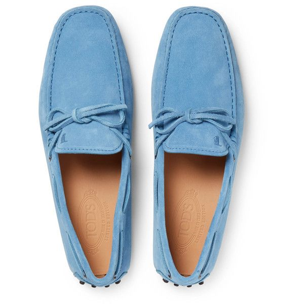 Tod's Gommino Suede Driving Shoes ($445) ❤ liked on Polyvore featuring men's fashion, men's shoes, mens suede driving shoes, tods mens shoes, mens driving shoes, mens driver shoes and mens suede shoes