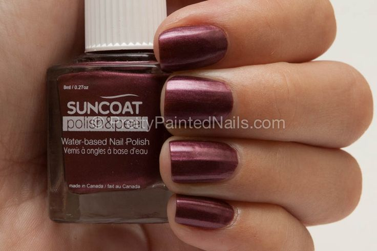 No nasty chemicals, and beautiful colour for the fall! //   Suncoat Polish and Peel Nail Polish Swatch in Mulberry (purple)     http://prettypaintednails.com/reviews/suncoat-water-based-nail-polish-peel-off-mulberry/#