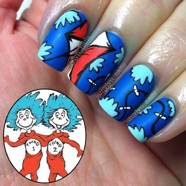 Dr Seuss The Cat In The Hat Thing 1 And Thing 2 Nails My Nails Ig Jamylyn Nails Pinterest