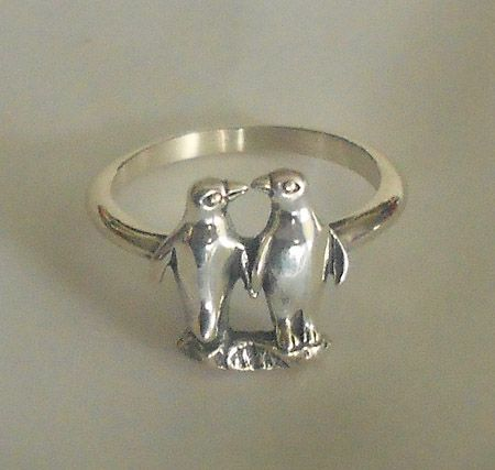 Penguin Couple Silver Ring