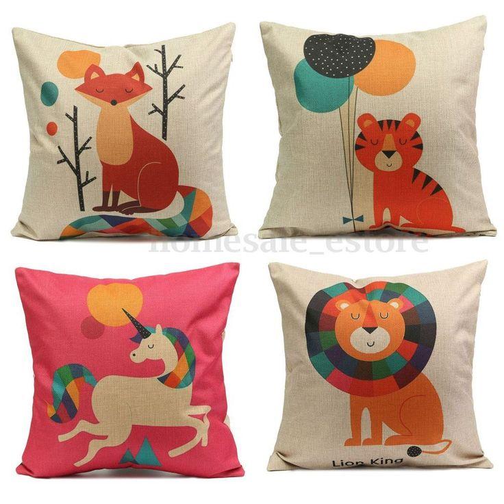 Cartoon Animal Jacquard Cushion Cover Pillow Case Home Car Sofa Decor Square #UnbrandedGeneric