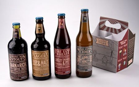 Great work from Sarah Bina on these Freak Show beers. I love the type-driven labels and muted color palette. They are very reminiscent of vintage circus posters. She's able to pull off the circus theme without being cheesy. My favorite part of these are the varying bottle shapes. That's a unique idea that is absolutely fitting for the Freak Show brand.