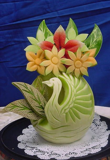 """Honeydew Melon Swan & Melon """"Flower"""" Arrangement - calbertculinaryarts.com"""