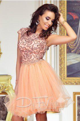 Rochita de Ocazie Eleganta Roz Somon cu Aplicatii Pearls Pink
