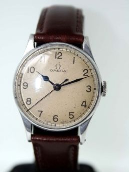 Omega 6b/159,  1942 issued RAF spitfire pilot's watch, how cool?!  Corr vintage watches has these WWII Omegas from time to time for a fairly reasonable price.
