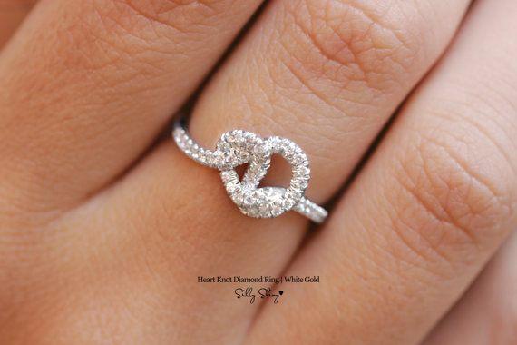 Heart Knot Diamond Ring 14K by SillyShiny on Etsy, $699.00