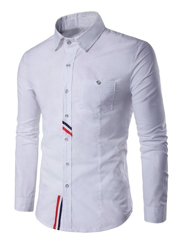 $10.70 Listrado Peito bolso Voltar Pleat Botão de camisa