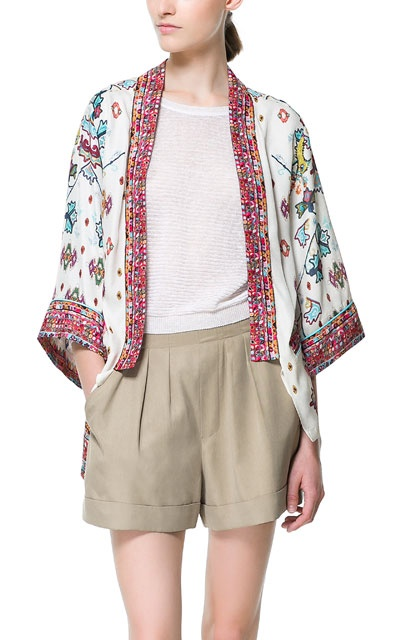 FLOWING PRINTED KIMONO - Blazers - Woman - ZARA United Kingdom