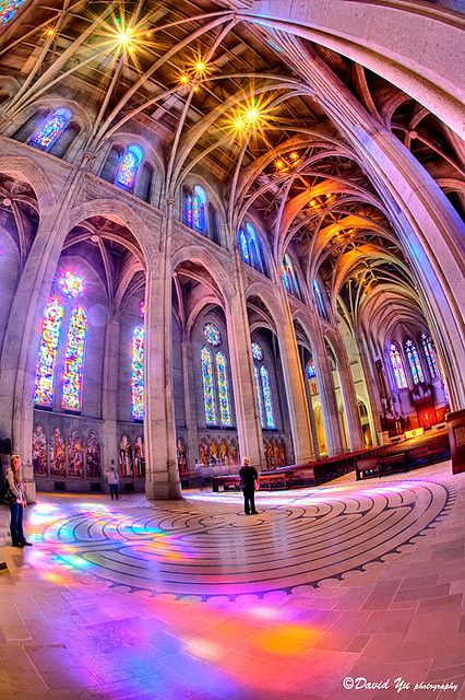 Colorful Grace Cathedral church interior  www.ArchitectsRZK.com likes this use of lights and color.