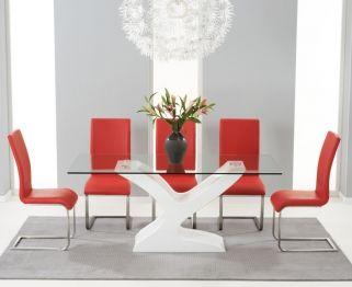 Buy Mark Harris Natalie White High Gloss Glass Top Dining Set