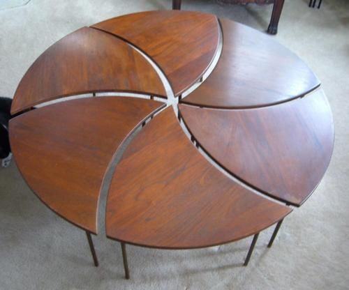 Teak Coffee Table Pinwheel Peter Hvidt Mid Century Danish Modern Wood Brass
