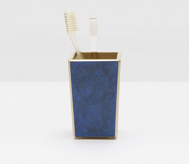 Pigeon & Poodle Reims Brush Holder in Blue Jewel Glass from The Well Appointed House