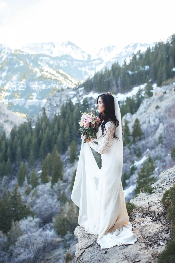 modest wedding dress with long lace sleeves from alta moda. -- (modest bridal gown)