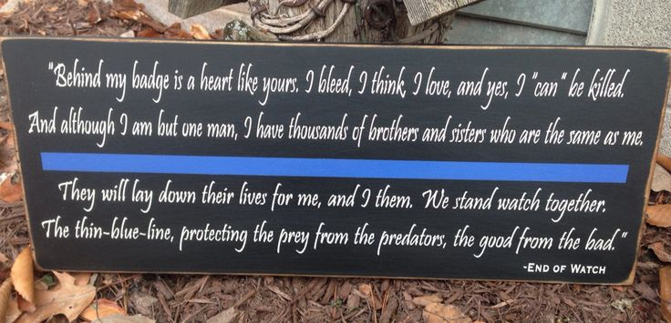 End of watch quote thin blue line Law by thehomespunraven on Etsy