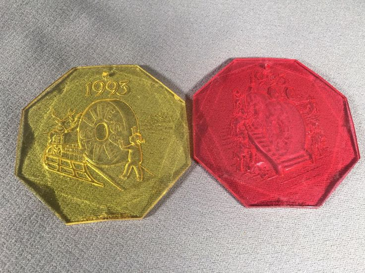 Vintage Plastic Lifesaver Candy Ornaments Yellow & Red 1993