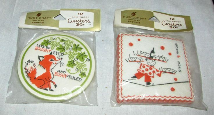 Vintage Coasters by Rust Craft - Red Fox and Asian Tightrope Walker