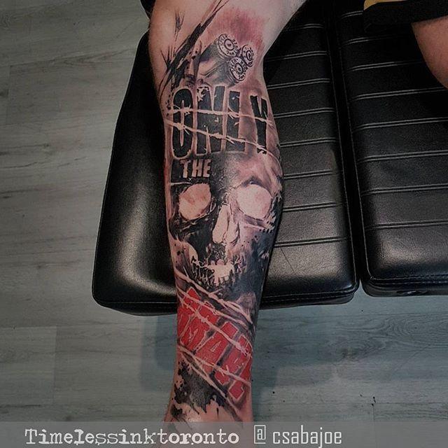 Only the brave leg piece #csabajoe #trashpolkatoronto #trashpolkatattoo #blackandred #trashpolka #torontoart #tattoo