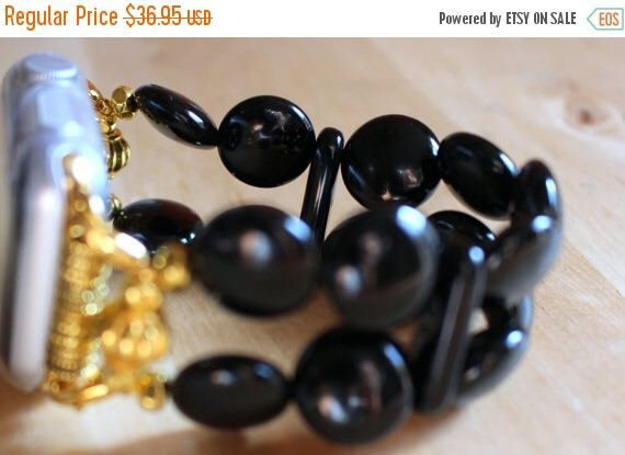 On Sale Ends Monday PM Apple Watch Band, Watch Band for Apple Watch, Black Onyx Circles Bracelet Band for Apple Watch by jewelrysldesigns on Etsy