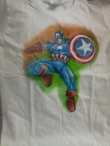 Franela pintada a mano Capitán America