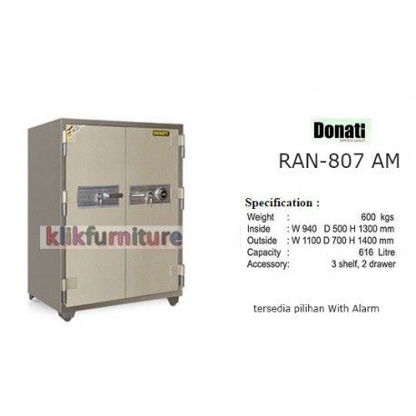 Ran 807 AM Donati Brankas Fire Resistant Condition:  New product  Brankas Tahan Api / Fire Resistant Safe  Outside Dimension  Width : 1100 mm,Depth : 700 mm,Height : 1400 mm Inside Dimension  Width : 940 mm,Depth : 500 mm,Height : 1300 mm Net Weight : 600 kgs, Capacity 616 litre  Accessories   1 Combination Lock, 2 Key Locks With Handle, 2 drawers with key, 3 shelves
