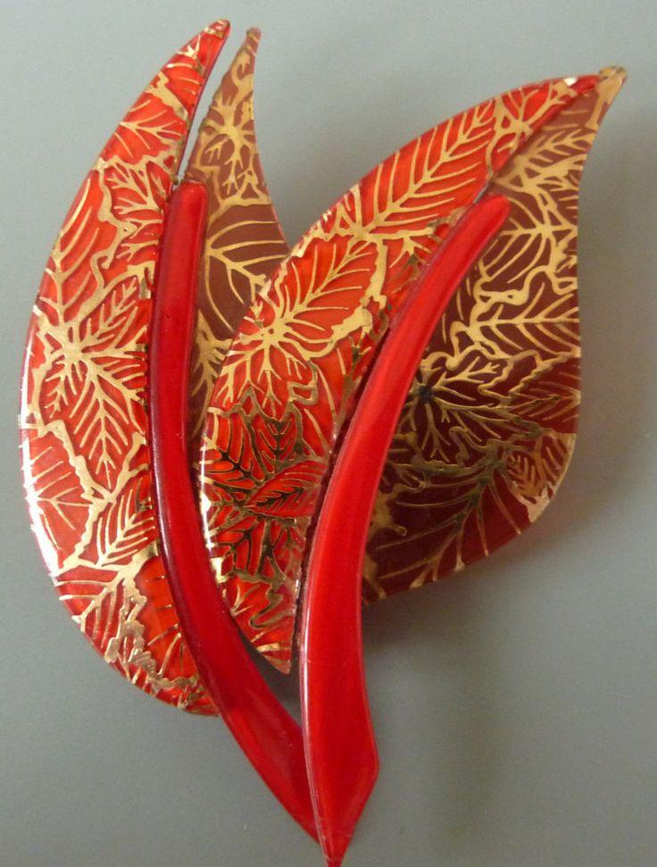 """Vintage Lea Stein """"rote Blätter"""" Brosche von arteaustria auf Etsy"""