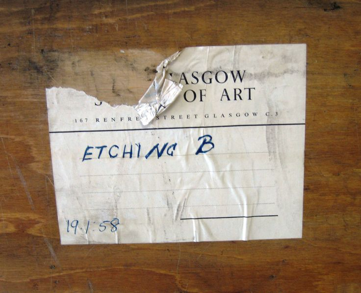 This label is found on the back of the etching display case. Archive reference: NMC/1624