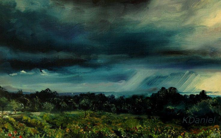 Sea, Grape vineyard field and Sheep and shepherd  - oil on canvas 10 x 7 inches. KDaniel http://www.ebay.com/itm/252640269270?ssPageName=STRK:MESELX:IT&_trksid=p3984.m1555.l2649