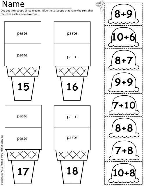 Ice Cream Math Scoops!  Addition and subtraction up to 20.  Summer fun math.