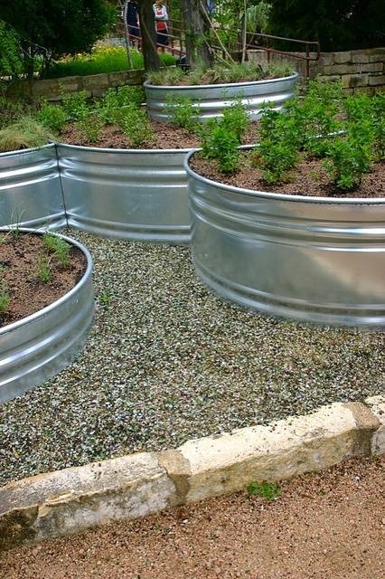 Glass Mulch and Tiered Beds-  I also considered using large galvanized tub to create the tiered look/beds in the front yard.   Thoughts?