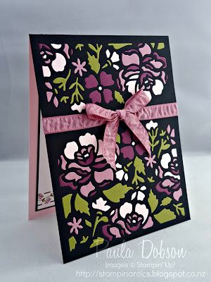 handmade greeting card from Stampinantics .... fancy floral background die cut inlaid with pieces in olive, white and purples ... luv it!