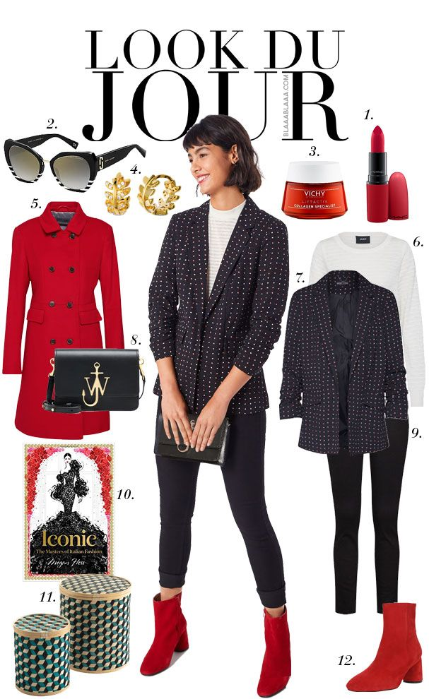 White and whtie striped sweater+black polka-dots blazer+black skinny  jeans+red ankle boots+red coat+black sunglasses+gold earrings+black clutch. e0b67d8abb0
