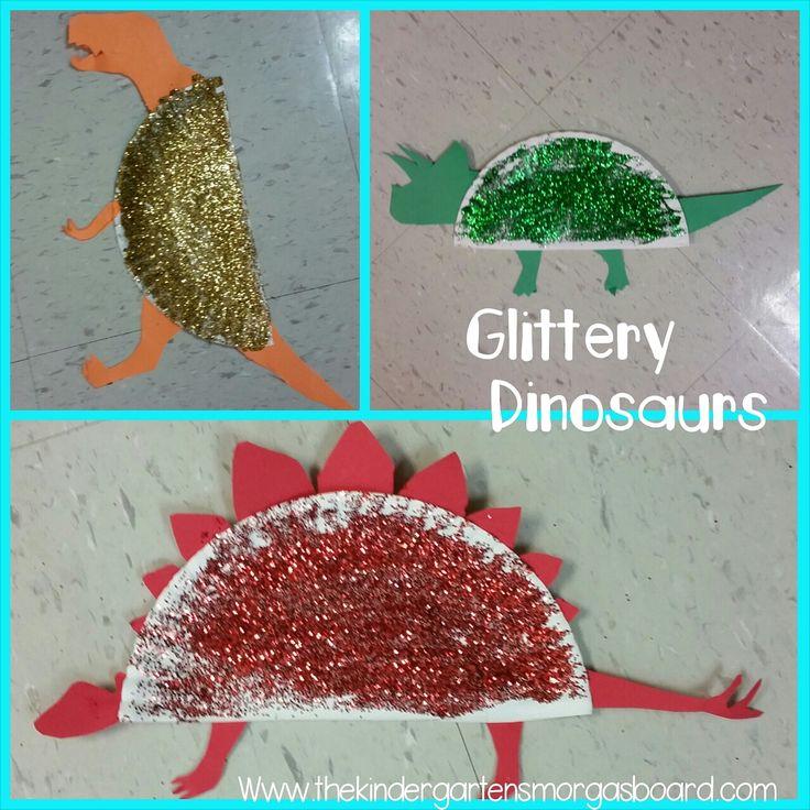 Glittery dinosaurs!  A fun dinosaur craft or dinosaur art project.  Dinosaurs and glitter!