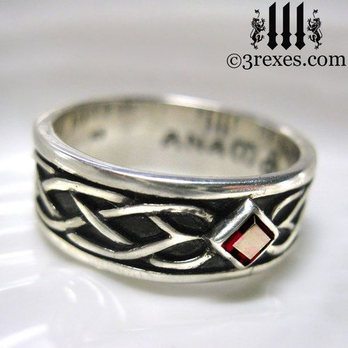 925 sterling silver celtic knot soul ring with red garnet stone mens medieval wedding ring - Medieval Wedding Rings