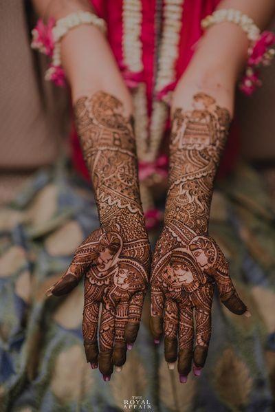 Mehendi Desings - Intricate Mehendi Bridal Design with Bride and Groom Caricatures   WedMeGood #wedmegood #indianbride #indianwedding #mehendidesign #mehandi #caricature #intricate #handmehendi #mehandi #henna #tatoo