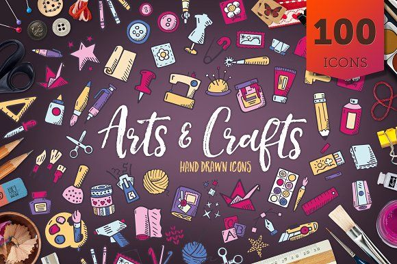 Arts And Crafts - Hand Drawn Icons by Good Stuff, No Nonsense on @creativemarket #handdrawn #icons #iconsets #handdrawnicons #doodle #drawing #clipart #tinyart #icon #icondesign #iconset #sketch #illustration #hobby #scrapbooking #crocheting #drawing #sewing