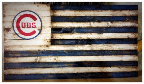 Chicago Cubs Flag, Chicago Cubs Banner, Chicago Cubs Sign, Wood Cubs Flag, Vintage Cubs, Retro Cubs Flag