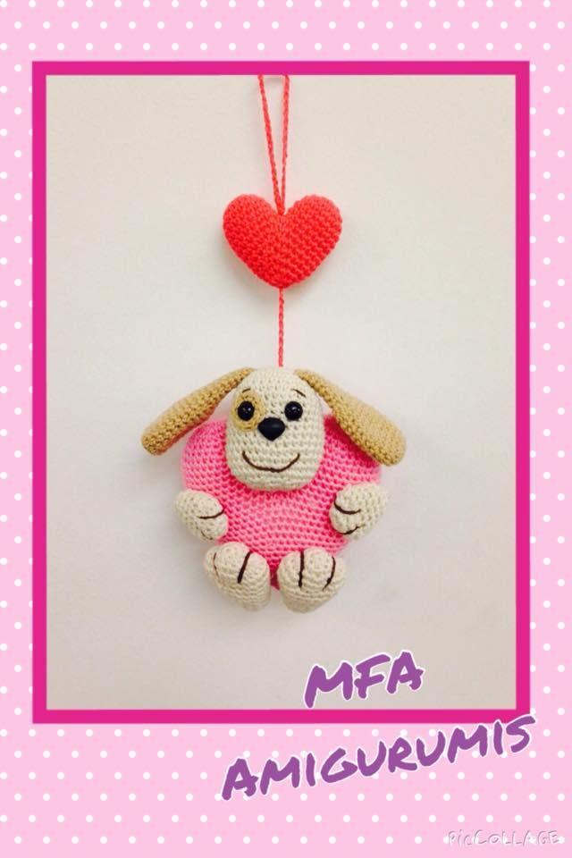 Colgante Perrito con corazón www.facebook.com/MFAAmigurumis