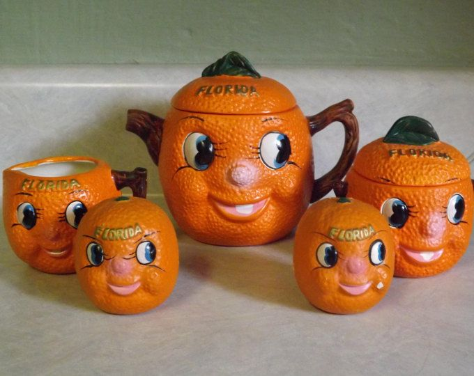 Vintage Anthropomorphic Florida Oranges Kitchen Set Free Shipping