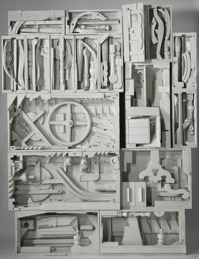 """Louise Nevelson - Dawn's Wedding Chapel IV wood painted white, 9' 1"""" x 7' 3"""" x 1' 1-1/2"""" (276.9 x 221 x 34.3 cm), © 1959-1960 Estate of Louise Nevelson/Artists Rights Society (ARS), New York / Photo by G. R. Christmas"""