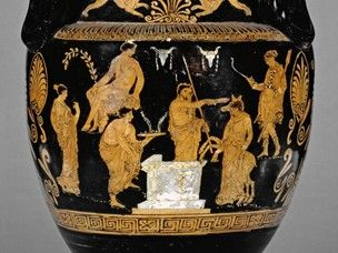 Pottery: red-figured volute-krater (bowl for mixing wine and water) showing the sacrifice of Iphigeneia. Agamemnon prepares to sacrifice her, but Artemis intervenes and turns her into a deer. The scene may have been inspired by Euripides' tragedy Iphigene