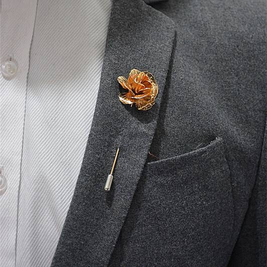 enamel pin Rose Gold Flower Lapel Pin Metal Favors Wedding suit pin Brooch Pin