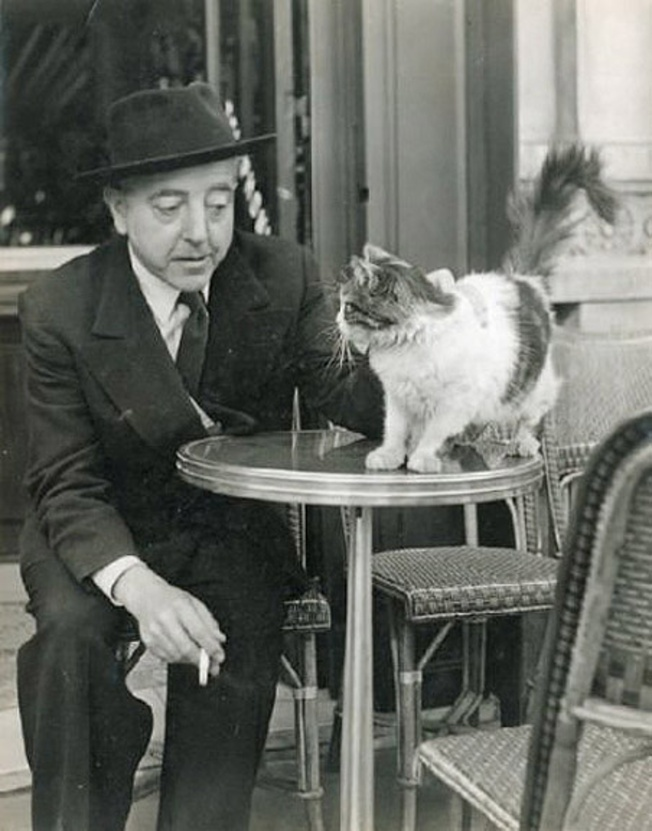 Jacques Prévert and cat